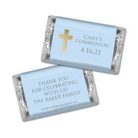 Personalized Bonnie Marcus Boy First Communion Glitter Cross Hershey's Miniatures