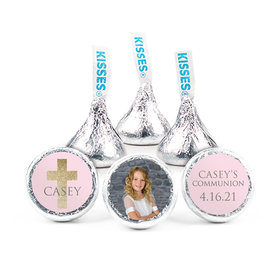"""Personalized Girl First Communion Glitter Cross 3/4"""" Stickers (108 Stickers)"""