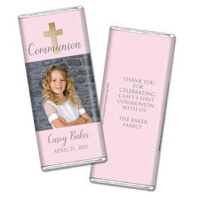 Personalized Bonnie Marcus Girl First Communion Glitter Cross Chocolate Bar Wrappers Only