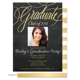 Bonnie Marcus Collection Personalized Gold Chalkboard Photo Graduation Party Invitation