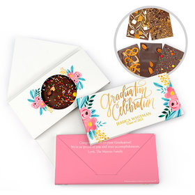 Personalized Bonnie Marcus Classic Floral Graduation Gourmet Infused Belgian Chocolate Bars (3.5oz)