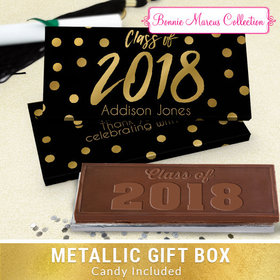Deluxe Personalized Dots Graduation Chocolate Bar in Metallic Gift Box