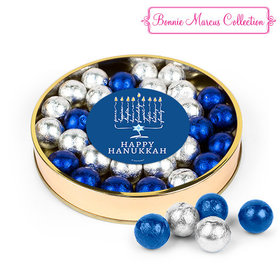 Bonnie Marcus Hanukkah Menorah Script Large Plastic Tin with Caramel Foil Balls
