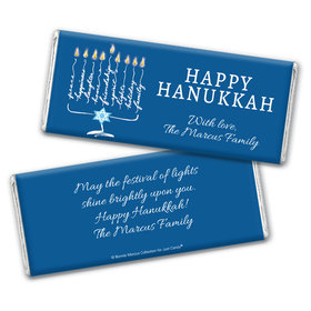 Personalized Bonnie Marcus Chocolate Bar Wrapper Only - Hanukkah Lights