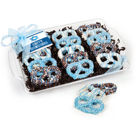 Hanukkah Star of David Chocolate Covered Pretzel Tray (15 pieces)