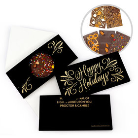 Personalized Happy Holidays Flourish Bar Gourmet Infused Belgian Chocolate Bars (3.5oz)
