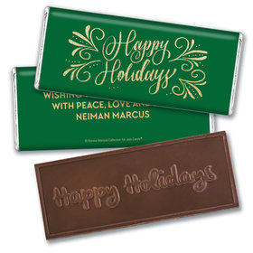 Personalized Bonnie Marcus Embossed Chocolate Bar & Wrapper - Happy Holidays Flourish