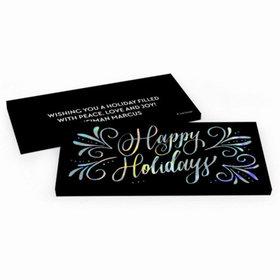 Deluxe Personalized Happy Holidays Chocolate Bar in Metallic Gift Box