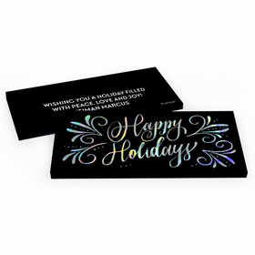 Deluxe Personalized Happy Holidays Candy Bar Favor Box