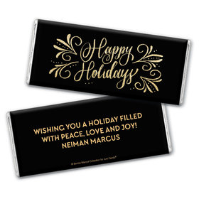 Personalized Bonnie Marcus Chocolate Bar & Wrapper - Happy Holidays Flourish