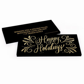 Deluxe Personalized Happy Holidays Chocolate Bar in Gift Box