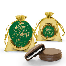 Personalized Bonnie Marcus Happy Holidays Flourish Milk Chocolate Covered Oreo in Organza Bags with Gift Tag