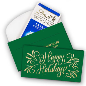 Deluxe Personalized Happy Holidays Flourish Christmas Lindt Chocolate Bar in Gift Box (3.5oz)