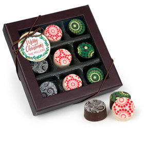 Personalized Christmas Wreath Gourmet Belgian Chocolate Truffle Gift Box (9 Truffles)
