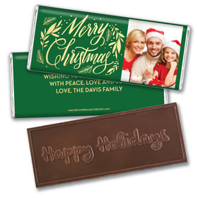 Personalized Bonnie Marcus Embossed Chocolate Bar & Wrapper - Festive Leaves Photo