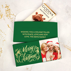 Deluxe Personalized Bonnie Marcus Festive Leaves Christmas Godiva Chocolate Bar in Gift Box