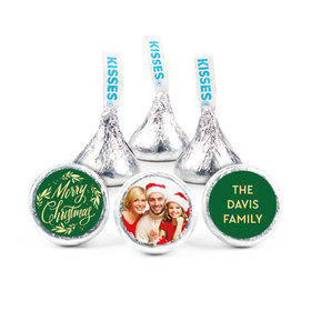 """Personalized Bonnie Marcus Christmas Festive Leaves Photo 3/4"""" Stickers (108 Stickers)"""