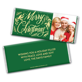 Personalized Bonnie Marcus Chocolate Bar & Wrapper - Festive Leaves Photo