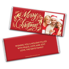 Personalized Bonnie Marcus Chocolate Bar Wrappers - Festive Leaves Photo