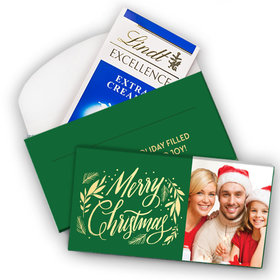 Deluxe Personalized Christmas Festive Leaves Photo Lindt Chocolate Bar in Gift Box (3.5oz)