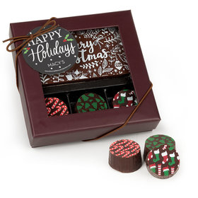 Personalized Christmas Snowy Santa Gourmet Belgian Chocolate Bar and Truffles (3 Truffles)