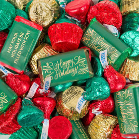 Happy Holidays Hershey's Miniatures, Kisses and Reese's Peanut Butter Cups