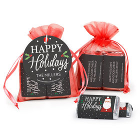 Personalized Christmas Snowy Santa Hershey's Miniatures in Organza Bags with Gift Tag