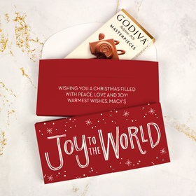 Deluxe Personalized Bonnie Marcus Joy to the World Christmas Godiva Chocolate Bar in Gift Box