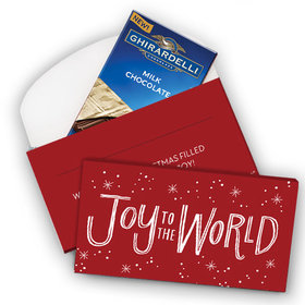 Deluxe Personalized Joy to the World Christmas Ghirardelli Chocolate Bar in Gift Box