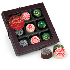 Personalized Christmas Joyful Gold Gourmet Belgian Chocolate Truffle Gift Box (9 Truffles)