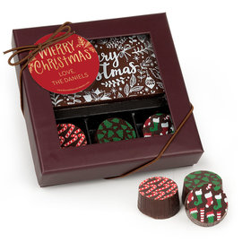 Personalized Christmas Joyful Gold Gourmet Belgian Chocolate Bar and Truffles (3 Truffles)