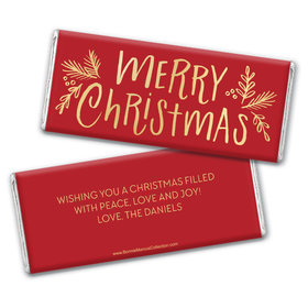 Personalized Bonnie Marcus Chocolate Bar Wrappers - Christmas Joyful Gold