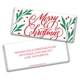 Personalized Bonnie Marcus Chocolate Bar Wrappers - Christmas Holly-day Joy