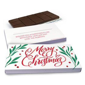 Deluxe Personalized Bonnie Marcus Holly-day Joy Chocolate Bar in Gift Box (3oz Bar)