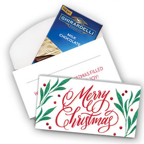 Deluxe Personalized Holly-day Joy Christmas Ghirardelli Chocolate Bar in Gift Box