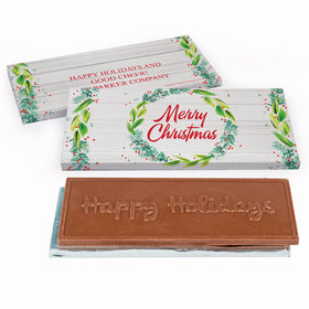 Deluxe Personalized Festive Foliage Christmas Embossed Chocolate Bar in Gift Box