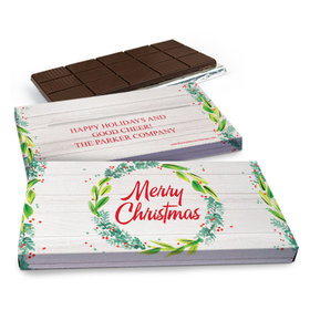 Deluxe Personalized Festive Foliage Christmas Chocolate Bar in Gift Box (3oz Bar)