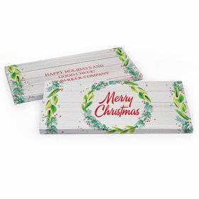 Deluxe Personalized Festive Foliage Christmas Candy Bar Favor Box