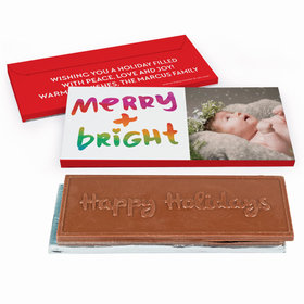 Deluxe Personalized Very Merry Photo Christmas Embossed Chocolate Bar in Gift Box