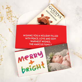 Deluxe Personalized Bonnie Marcus Very Merry Photo Christmas Godiva Chocolate Bar in Gift Box