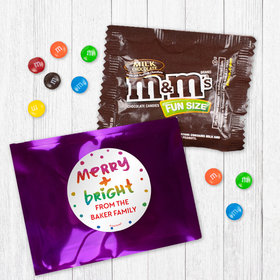 Personalized Christmas Merry and Bright - Milk Chocolate M&Ms