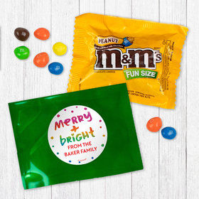 Personalized Christmas Merry and Bright - Peanut M&Ms