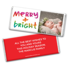 Personalized Bonnie Marcus Very Merry Photo Christmas Chocolate Bar & Wrapper