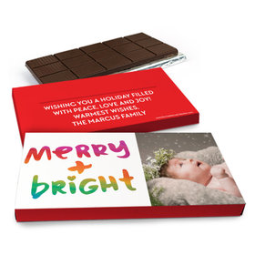 Deluxe Personalized Very Merry Photo Christmas Chocolate Bar in Gift Box (3oz Bar)