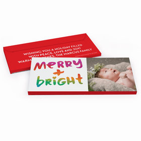 Deluxe Personalized Very Merry Photo Christmas Chocolate Bar in Gift Box