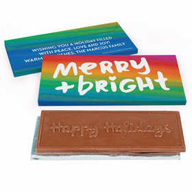 Deluxe Personalized Merry & Bright Christmas Embossed Chocolate Bar in Gift Box