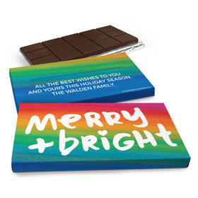 Deluxe Personalized Merry & Bright Christmas Chocolate Bar in Gift Box (3oz Bar)