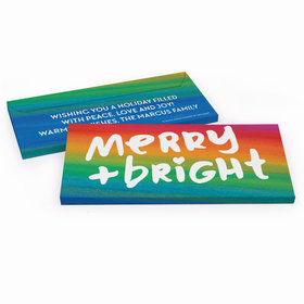 Deluxe Personalized Merry & Bright Christmas Candy Bar Favor Box