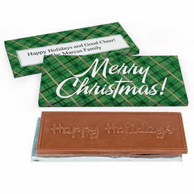 Deluxe Personalized Classical Christmas Embossed Chocolate Bar in Gift Box
