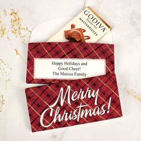 Deluxe Personalized Bonnie Marcus Classical Christmas Godiva Chocolate Bar in Gift Box
